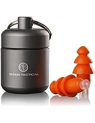 Titan Tactical 29NRR disparo reutilizable tapones para los oídos W/extraíble filtro de ruido + resistente carcasa de aluminio (para normal + pequeña oreja canales)