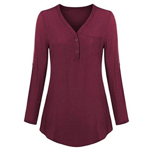Damen Bluse,Felicove Basic Hemden Winter Pullover Chiffon Blusentop Blumen Haushemd Elegant...