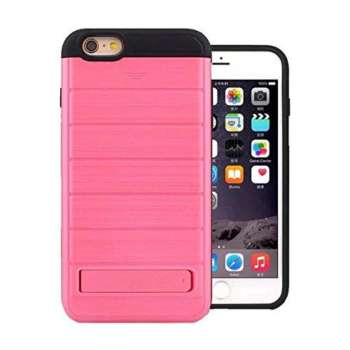"""iPhone 6 Plus Coque,iPhone 6S Plus Coque,Lantier 2 en 1 métal brossé Texture Wallet Series Housse de protection rigide avec Kickstand et fente pour iPhone 6 Plus/6S Plus 5.5"""" Argent Brushed Texture Hot Pink"""