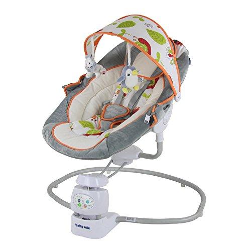 Babywippe Schaukelfunktion grau-orange 78x76x63cm elektrisch Wippe Babyliege Baby