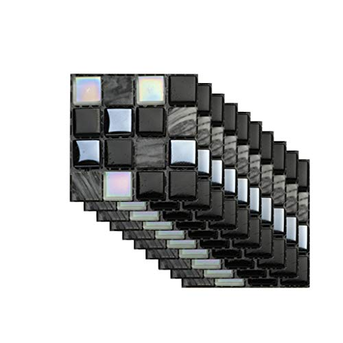 Ibeans 10pcs 3D Stickers carrelage 10x10 cm Autocollant Mural Imperméable Auto-adhésif en mosaïque Auto-adhésif Cuisine Salle de Bain Mur de Maison décor Autocollant 3D (A)