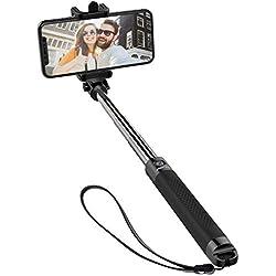 【Nouvelle Version】Mpow Perche Selfie Bluetooth, Selfie Stick Extensible de Poche/Bâton Selfie Réglable pour iPhoneX/8/7 plus/6, Galaxy Series,Wiko et plupart Smartphone Android - Noir