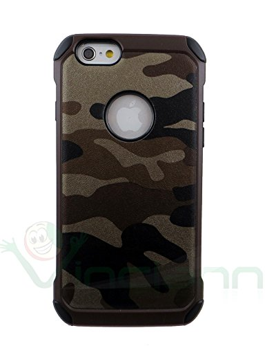 Pellicola+Custodia cover DOPPIO STRATO MIMETICA iPhone 6 6S 4.7 case tpu+rigida MARRONE marrone