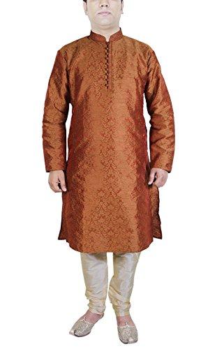 Mens Clothing Fashion Kurta Pajama Set Indian Fashion Dress Brown Size XL