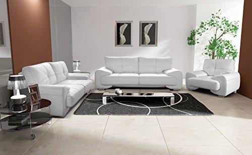 Polstergarnitur Sofa Set 3er & 2er Wohnlandschaft 3-Sitzer und 2-Sitzer mit Sessel Möbel Set - FLORIDA (Weiß)