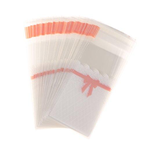 eutel Selbstklebende Dichtung Beutel Cellophan Taschen Flachbeutel Beutel Plätzchen Süßigkeiten Lippenstift Tasche Lippenbalsam Geschenk Verpackung - Rosa Bowknot, 5x10 + 3cm (Durchsichtigen Kunststoff-geschenk-taschen)