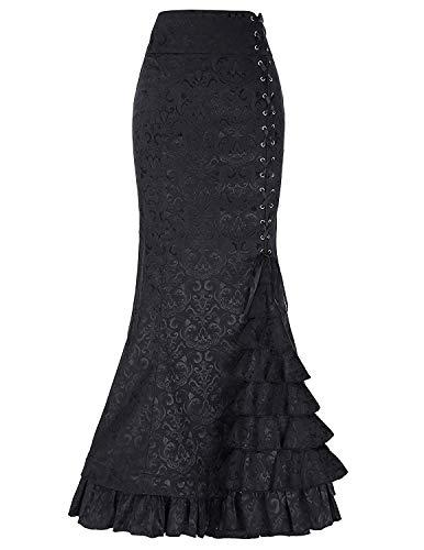 Damen Steampunk Gothic Corsage Kleid Lang Rock Corsagenkleid