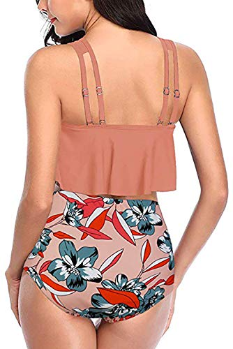 Adisputent Damen Badeanzug mit hoher Taille, Volant, Racerback, Vintage-Stil, Zweiteiliger Bikini - Orange - XX-Large - 2