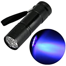 Ecloud Shop 9 LED Linterna Luz Ultravioleta Antorcha Detector de Billete falso