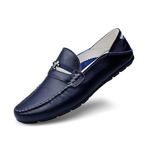 Scarpe da uomo in pelle primavera/autunno uomo mocassini e foderi scarpe pigri piselli scarpe wild feet scarpe casual a pedal pigro driving shoes (colore : blu, dimensione : 39)