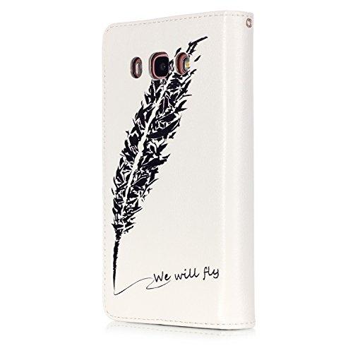 Custodia Samsung Galaxy J7 (2016), Sunroyal® Custodia in Pelle, in Piedi la Vista Diario Custodia Copertura di Vibrazione Portafoglio Flip Cover con Chiusura Magnetica per Samsung Galaxy J7 (2016) SM- Modello 10