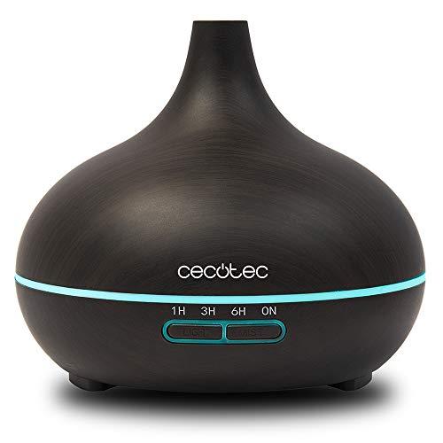 Cecotec Humidificador Ultrasónico Pure Aroma 300 Ying. Difusor de Aroma, Temporizador 10 Horas, 7 Colores Led, 300 ml, Función Aromaterapia, Ultra Silencioso, Acabado Madera