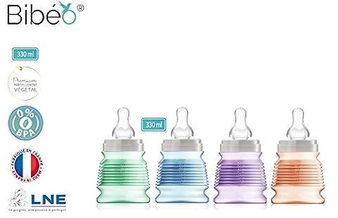 Lot promotionnel de 4 Biberons de voyage hygiéniques,330 ML,biberon bleu avec 1 tétine débit Moyen (4-6 mois) et 3 biberons mint, parme et mandarine avec 3 tétines à Débit Rapide (8 mois +), Bague et capuchon en matières végétales naturelles sans colorants, fermeture par serrage,0% OGM 0% BPA. 1 seul coffret au lieu de 4 Coffrets.