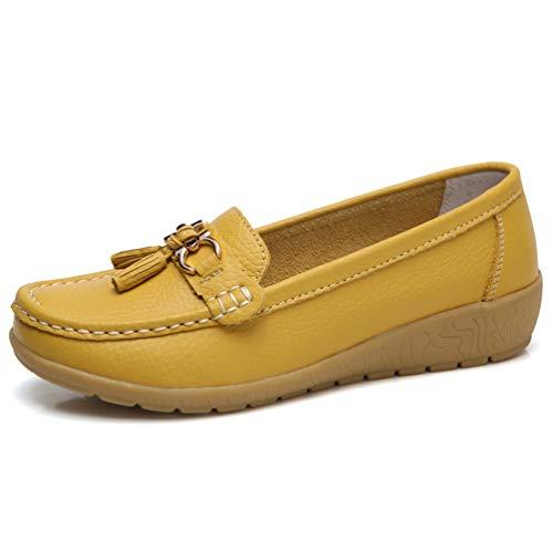 JRenok Damenschuhe Bootsschuhe Sneakers Echte Lederschuhe Tassel Rand lässige Schuhe Runde Zehen Rutschfeste ()