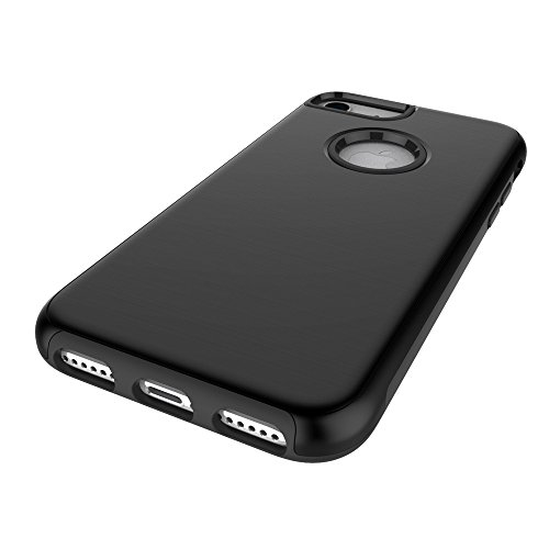 "iPhone 6sPlus Handyhülle, [High Pro Shield Serie] CLTPY iPhone 6Plus Premium 2 in 1 TPU & Hardplastic [Schwarz] Doppelte Schutzschicht & Extrem Hoher, Stoßdämpfende & Kratzfeste Back Cover für 5.5"" Ap Schwarz"