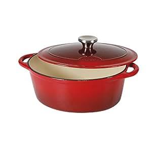 Sitram 710841 Cocotte 9 L Fonte d'acier émaillée Forme ovale,Rouge/Crème, 36 x 28 x 14 cm