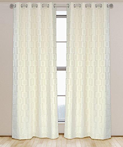 LJ Home Fashions Nexus Geometrische Link Öse/Ring Top Ösen Vorhang Set, Baumwoll-Mischgewebe, Creme Ivory, 132x 241cm, Set von 2