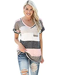 SKY Popular !!! Mujeres Camiseta a rayas camisa Loose Top Short Sleeve Blouse Casual T-Shirt S~L5