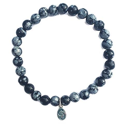 Snowflake Obsidian Stretch-Bracelet, Semi-Precious Stones, APOCCAS, AGNI, Grey-Black, 6 mm diameter, Sterling Silver Tag, Women's, size M - Granato Genuino Bracciali