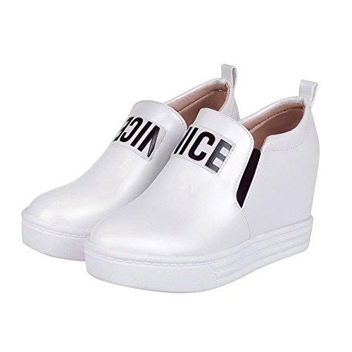 VogueZone009 Femme Rond à Talon Haut Matière Souple Couleurs Mélangées Tire Chaussures Légeres Blanc