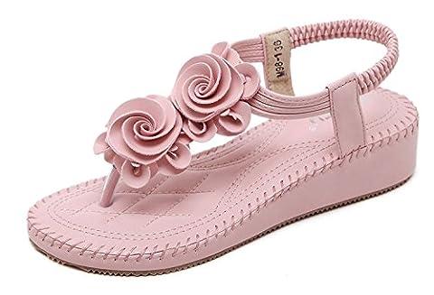Minetom Femmes Filles Été Sandales Fleur Beau Plat Peep Clip Toe T-Sangle Tongs Chaussure De Plage Slippers Rose EU 38