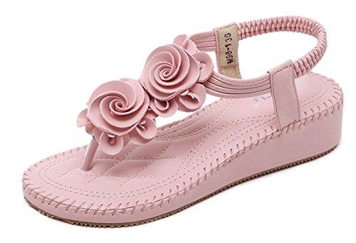 Minetom Sommer Damen Elegante Beiläufig T-Gurt Blume Flache Hefterzufuhr Flats Thong Strand Sandalen Rosa EU 38 (Perlen Flats Loafers)