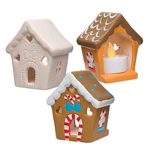 """Baker Ross Keramik-Teelichthalter """"Lebkuchenhaus"""" für Kinder – für Weihnachtliche Bastelarbeiten und Dekorationen (3 Stück)"""