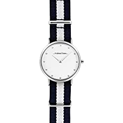 Andreas Osten Ladies Womens Silver Bezel Blue Nato Strap Wrist Watch A0-21