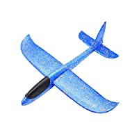 Vimbhzlvigour 38cm Outdoor Hand Throw Aircraft Camouflage Airplane Launch Glider Plane Model Kids Toy Blue