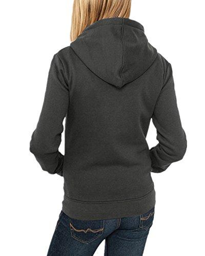 ZANZEA Femmes Mode Pull à Capuche Solides Veste Zippé Sweat Avec Poches Jumper Hoodie Coat Gris foncé