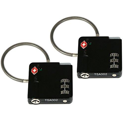 2x TSA candados de equipaje para el viaje de color negro con asa firme