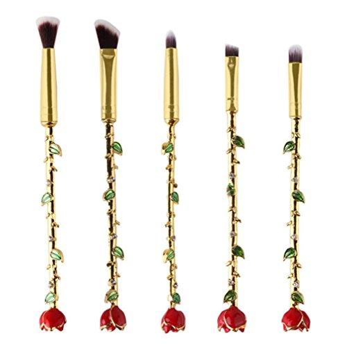 Honestyi 5pcs Rose pinceaux de maquillage Fard à joues Outils cosmétiques Correcteur de sourcils Eyeliner Foundation (Or)