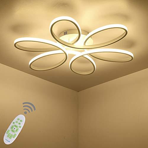 Blume-Shape LED Deckenlampe Dimmbar Kronleuchter mit Fernbedienung Rund Deckenbeleuchtung Modern Design Metall Acryl Schirm Decke Schlafzimmer Wohnzimmerlampe Lampen Esszimmer Kinderzimmer-leuchte -