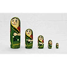 Sweta Art And Crafts Wooden Russian Dolls/Nesting Dolls Only Red Colors Available (Pack Of 6)