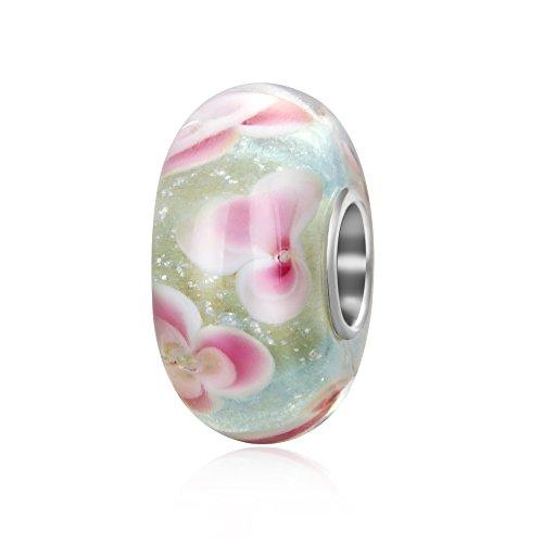 Ciondolo con fiori rosa in vetro di murano, con nucleo in argento sterling 925