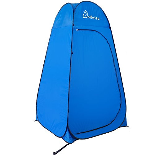 WolfWise UPF 50+ Camping Duschzelt, Pop Up Toilettenzelt Umkleidezelt Outdoor Privatsphäre Zelt Strand Sichtschutz, mit Abnehmbarn Zeltboden Wasserfest Tragbar Blau