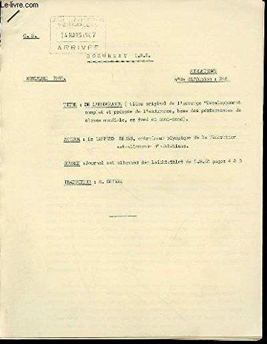 DOCUMENT I.N.S. N°248 : ATHLETISME - DE L'ENDURANCE (TITRE ORIGINAL DE L'OUVRAGE