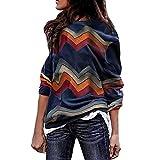 TIMEMEAN Damen Bekleidung Lange Ärmel Pullover Sweatshirt Top O-Kragen Patchwork Streifen Freizeit Lose