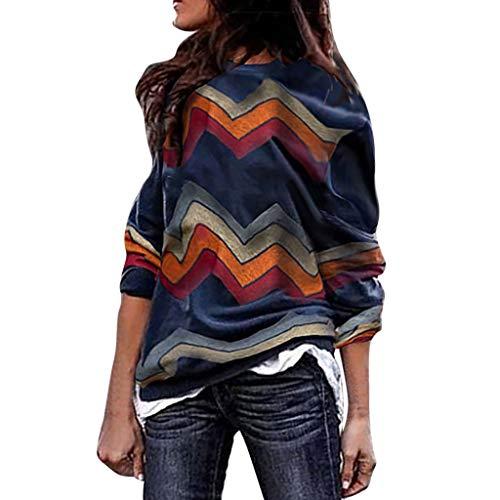 Givenchy Leder Braun (TIMEMEAN Damen Bekleidung Lange Ärmel Pullover Sweatshirt Top O-Kragen Patchwork Streifen Freizeit Lose)