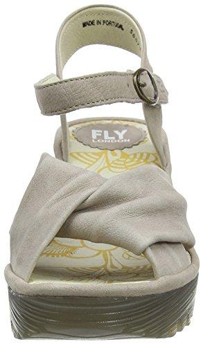 Fly Londra Damen Yesh712fly Sandalo Con Zeppa Grau (cemento 014)