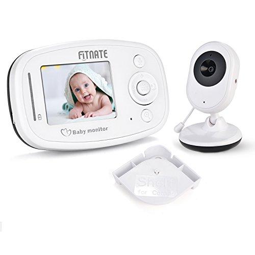 Fitnate® Video Babyphone mit Nachtsichtkamera, 2 Wege Talkback Audio, Stabiles Signal und Wiegenlied Schnullersystem - Inklusive Kompatibel Baby Monitorständer und Regal, 2,4 Zoll
