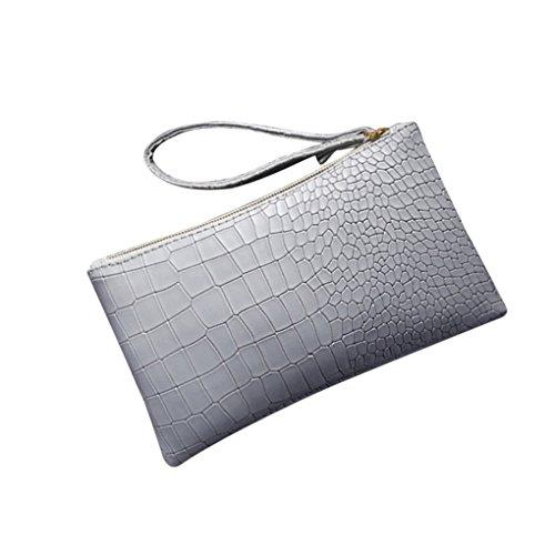 Damen Taschen JYJM Modische Zipper PU Mini Clutch Mädchen Geldbörse Vintage Leder Krokodil Muster Mini Handtasche Wallet Card Package (Größe: 19,5 cm (L) * 3 cm (W) * 11,5 cm (H) / 7,68, Hellgrau)
