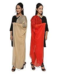Dupatta Bazaar Womens Dupatta (Pack of 2)(CD0042_Multi-Coloured_Free Size)