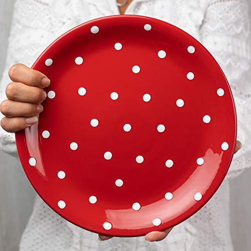 City to Cottage   Assiette plate   rouge à pois blancs en céramique faite et peinte à la main   25,5cm