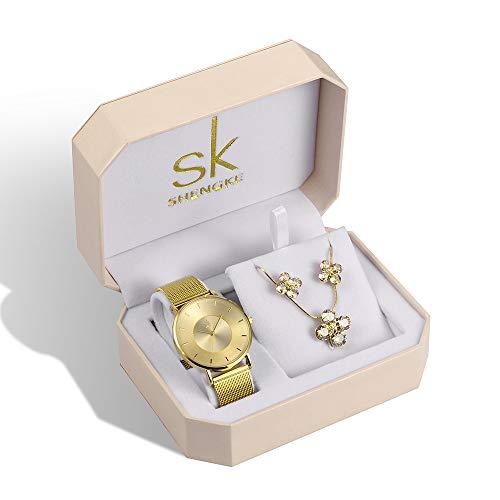 Damenuhren-Sets Quarz-Armbanduhren mit Roségold Ohrring und Halskette 3 Sets Valentinstag Damen Uhr (K0059 Gold)