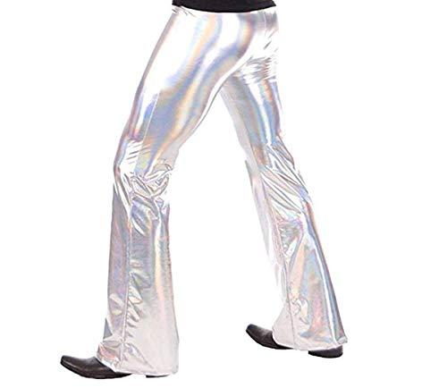 Tiaobug Herren Glänzend Wetlook Leder Hose Metallic Pants Schlaghose Faschingskostüme Party Tanzen Disco Clubwear in Silber Gold Schwarz Silber L(Taille ()