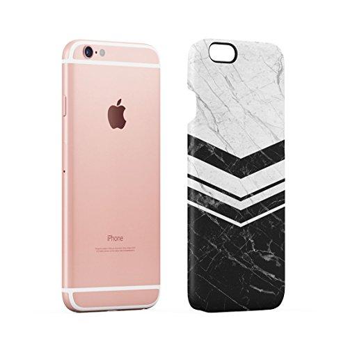 White & Black Cracked Marble & Oak Wood Blocks Custodia Posteriore Sottile In Plastica Rigida Cover Per iPhone 6 & iPhone 6s Slim Fit Hard Case Cover Black White Chevron