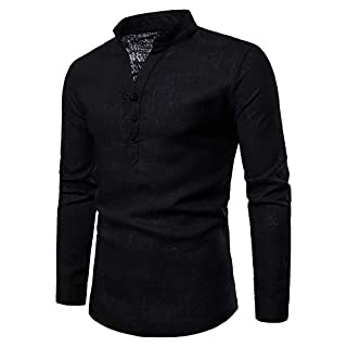 Men Long Sleeve Tops HEHEM Men's Long Sleeve Autumn Winter Linen Henry Large Size Casual Top Blouse Shirts Long Sleeve Shirts T-Shirt Polo Shirts Polo Sweatshirt T-Shirt Top