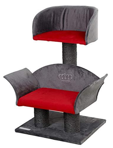 Kerbl 81548 Kratzbaum Lounge Deluxe, Höhe: 70 cm, grau/rot