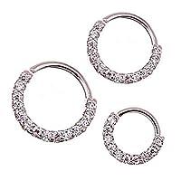Ownsig 3 Pcs Hoop Earrings Silver Plated Round Nose Rings Zirconia Mini Earrings Women Jewelry Gift 6mm, 8mm,10mm